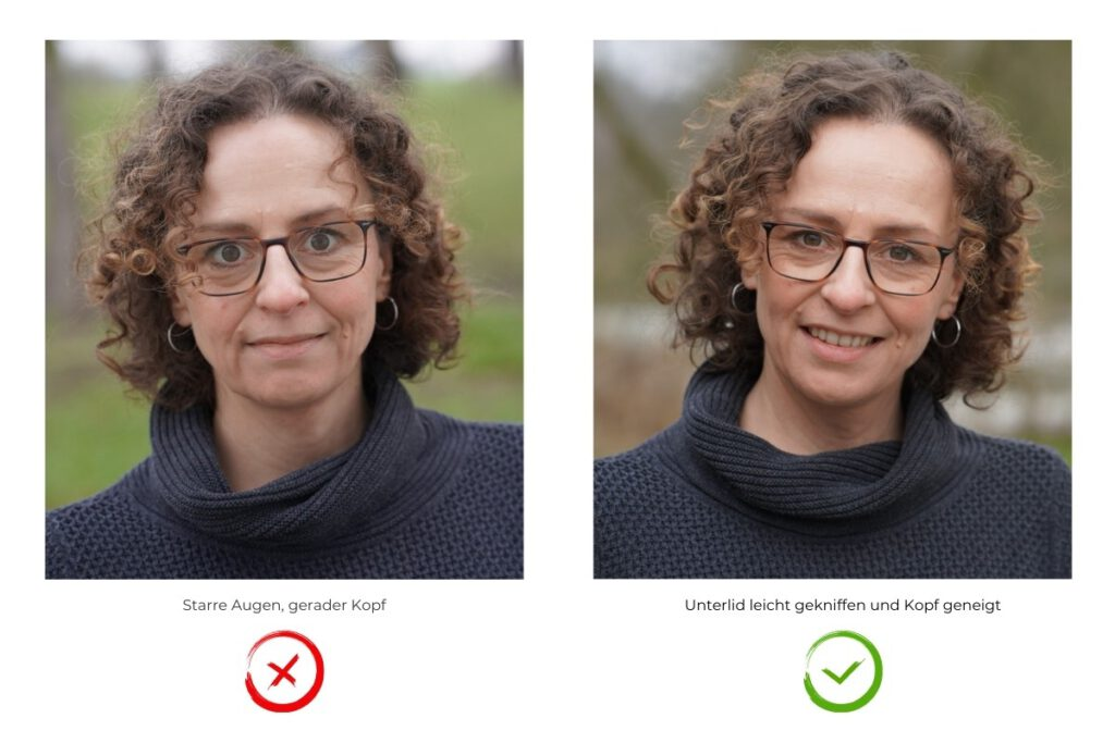 Gesichstausdruck fotogen und nicht fotogen Augen