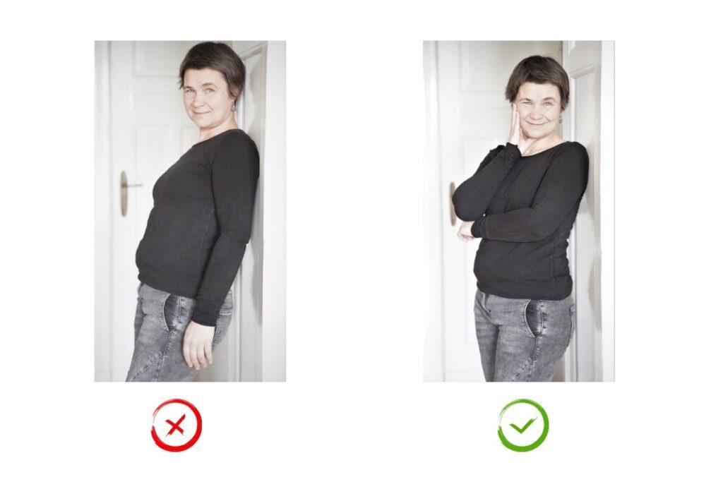 fotogenen und nicht fotogenes Posing vor der Kamera